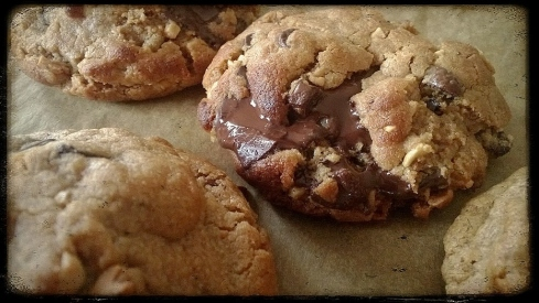 Peanut butter chocolate chunk chip cookies. Soft and chewy!