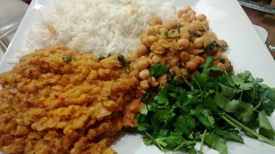 Red Lentil curry, chana masala, basmati rice & excess coriander.