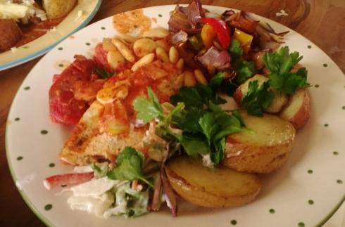 Chicken cacciatore, veg, herbs, parsley and rustic potatoes with butter beans